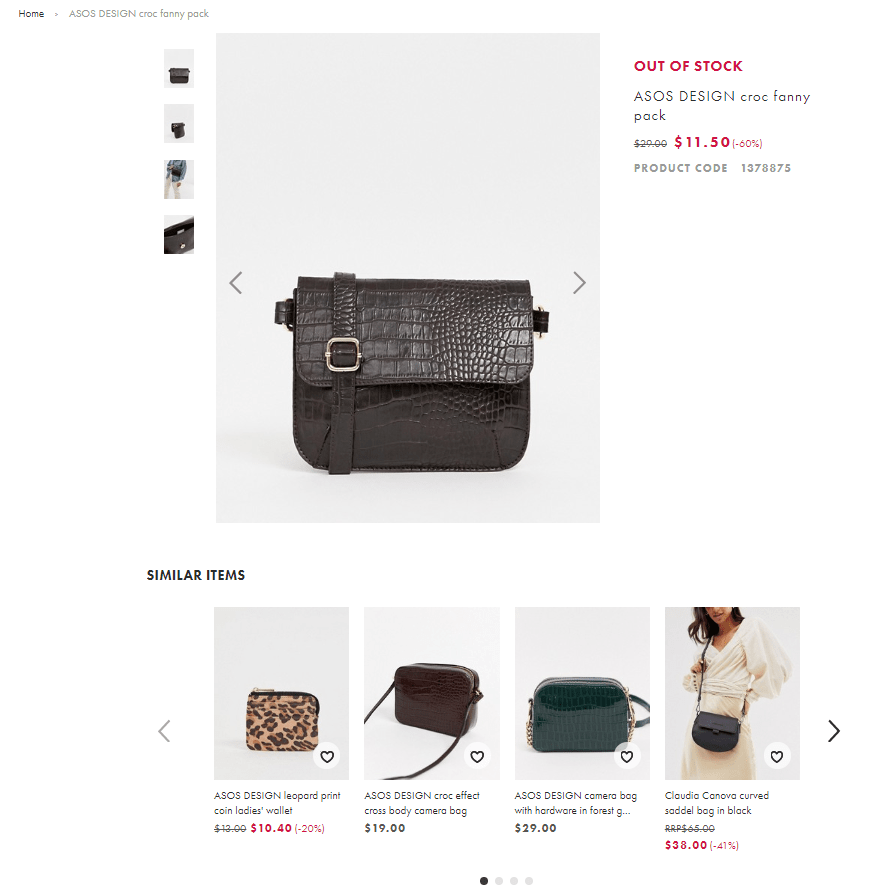 Out of stock product page with options to view similar products