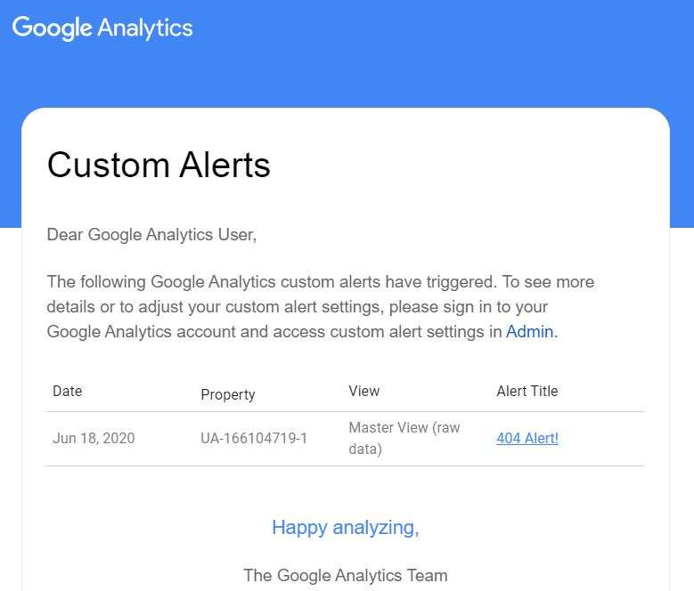 A triggered Google Analytics 404 Custom Alerts report